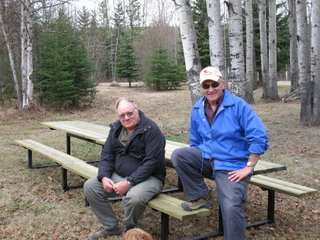 Don and Leroy after setting up  SRD  donated tables at Eagle River.