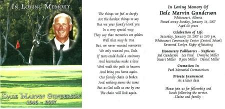 Dale Marvin Gunderson Memorial Card
